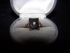 1930's Black Onyx & Glass Gold Filled by VintageNoirMaison on Etsy