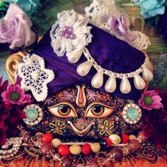 Darshan of my home Giriraj #spiritual #hare #krishna #deity #flowers #design #worship #turban #decoration #colour