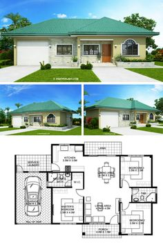 One storey Bungalow House with 3 bedrooms Model House Plan, House Layout Plans, Dream House Plans, House Layouts, Simple Bungalow House Designs, Modern Bungalow House, Village House Design, Country House Design, Small House Layout