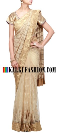 Buy Online from the link below. We ship worldwide (Free Shipping over US$100) http://www.kalkifashion.com/beige-saree-with-thread-embroidery.html Beige saree with thread embroidery