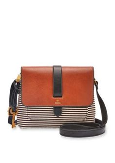 Fossil Black Stripe Kinley Small Crossbody