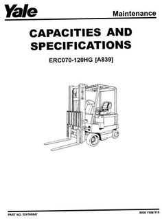 Original Illustrated Factory Workshop Service Manual for Yale Electric Forklift Truck Type A839.Original factory manuals for Yale Forklift Trucks, contains high