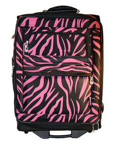 Pink Zebra Carry-on with telescoping garment rack