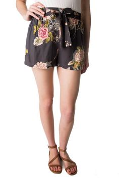 Floral Short with Tie Belt