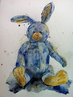 Watercolour painting of Blue bunny