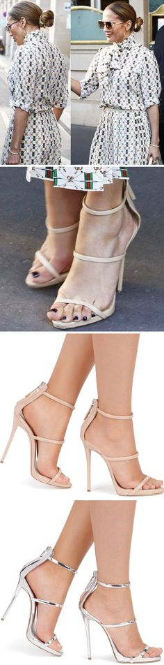 1687c99fe2ca Jennifer Lopez Lunches at Louvre in Giuseppe Zanotti  Harmony  Sandals