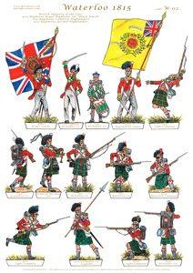 "Fanteria della linea inglese - ""Highlanders"" British Army Uniform, British Uniforms, Waterloo 1815, Battle Of Waterloo, Military Art, Military History, Bataille De Waterloo, Vallejo Paint, Vintage Paper Dolls"