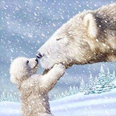 Scott Wilson - POLAR BEAR AND CUB KISSING.jpg