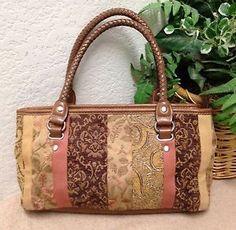 252540a576 Relic Brown Tapestry Striped Satchel Shoulder Handbag Bag Purse Braided  Handles