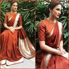 Showcasing few stunning pictures of Designer Shilpa Reddy Sarees who was spotted in ethnic wear. She paired classic benaras and kanjivarams. Best Indian Sari CLICK VISIT link above to read Blouse Designs High Neck, Sari Blouse Designs, Dress Designs, High Neck Saree Blouse, Saree Dress, Indian Dresses, Indian Outfits, Lehenga Choli, Anarkali