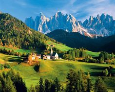 The Dolomites are a mountainous region; part of the Southern Alps and extend from the Alto Adige region of Italy. This picture below is of the Dolomites in the Trentino Alto Adige Region from an extraordinary book, 100 Countries, 5,000 Ideas: Where to Go, When to Go, What to See by National Geographic.