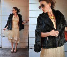 Luxury Faux Fur Stole Cape Capelet Mid Century by LaDeaDeiSogni, $148.00