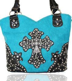 TURQOISE WITH #BLACK RHINESTONE DESIGN #HANDBAG  $45.00 http://www.blingtack.com/product/turquoise-and-black-rhinestone-handbag/