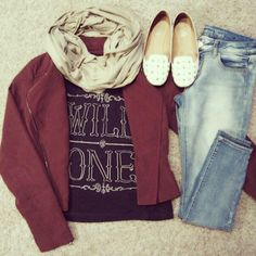 Penny loafers, distressed denim, grey top with wine colored blazer
