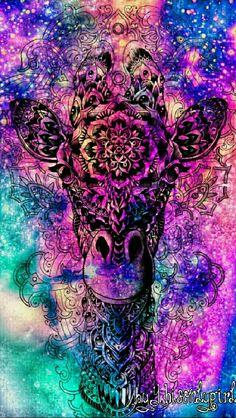 Tribal giraffe galaxy wallpaper I created for the app CocoPPa.