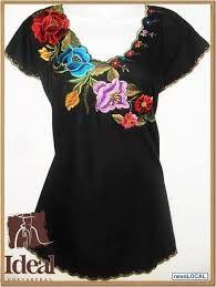 Resultado de imagen para tela bordada blusas Mexican Blouse, Mexican Outfit, Mexican Dresses, Boho Outfits, Fashion Outfits, Womens Fashion, Ethno Style, Mexican Fashion, Mexican Embroidery