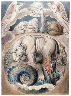 William Blake (1757–1827) Behemoth and Leviathan Pen and black ink, gray wash, and watercolor, over traces of graphite Purchased by Pierpont Morgan, 1903 2001.77