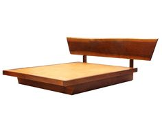 Platform Bed By George Nakashima - An English walnut platform bed w/headboard,made with through tenon joinery.