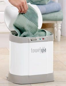 Towel Spa Towel Warmer...   I cannot describe the heaven of stepping out of a hot shower, into a cold room, with a nice thermal layer of HOT TOWEL under my robe. Thank you, TowelSpa.