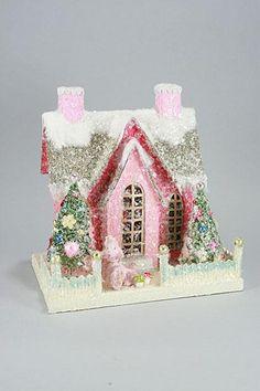 Retro Putz House   Pink Putz House with Poodle   Retro Christmas House
