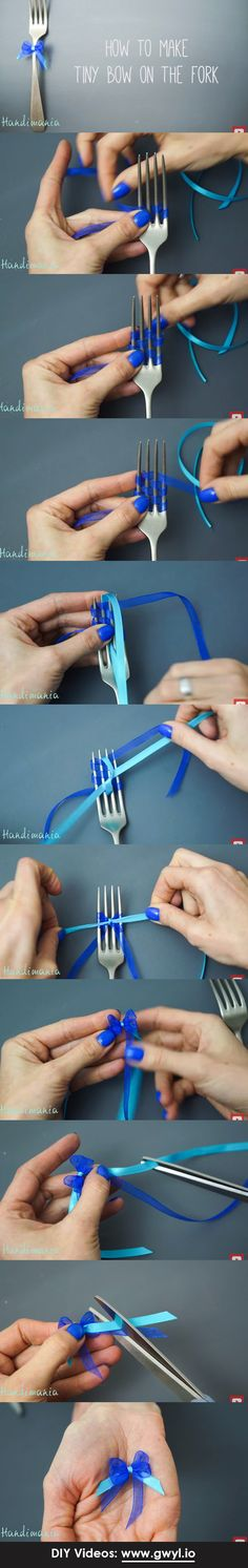 These miniature ribbons are made using an ordinary fork… and believe it or not, this method works surprisingly well!    See video and full written instructions here: http://gwyl.io/tie-teanie-tiny-bows-without-going-insane/