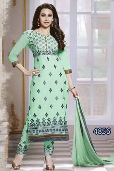KING SALES NEW LATEST KARISHMA KAPOOR BEAUTIFUL AQUA GREEN EMBROIDERY PARTY WEAR SUIT  ..TOP FABRIC: PURE COTTON ..TOP COLOR: AQUA GREEN ..TOP LENGTH: 46 INCHES ..TOP SIZE: UP TO 44 ..BOTTOM FABRIC: COTTON WITH WORK ..BOTTOM COLOR: AQUA GREEN ..DUPPATTA FABRIC: CHIFFON ..DUPPATTA COLOR: AQUA GREEN ..SUIT TYPE: UNSTITCHED ..STYLES: CHUDIDAR SUITS ..WORK: EMBROIDERY ..OCCASION: PARTY WEAR, FESTIVAL, EVENTS ..CATALOGUE NO: KSA151-4856