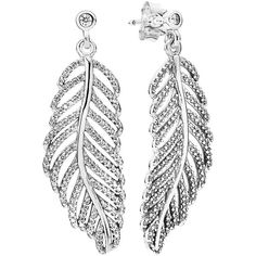 PANDORA 'Light as a Feather' Drop Earrings (390 BRL) ❤ liked on Polyvore featuring jewelry, earrings, bezel set earrings, glitter earrings, post earrings, anchor jewelry and feather jewelry