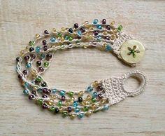 Crochet Beaded Bracelet Off White with Green by BeachDaisyJewelry