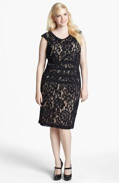 Adrianna Papell Beaded Short Sleeve Sheath Dress Plus Size Warm