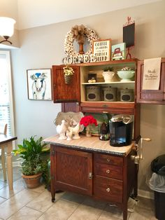 coffee bar ideas Stylish Home Coffee Bar Design Decor Ideas - Home Design - lmolnar - Best Design and Decoration You Need Armoire Cabinet, Antique Hoosier Cabinet, Cabinet Decor, Cabinet Ideas, Cabinet Design, China Cabinet, Coffee Bars In Kitchen, Coffee Bar Home, Home Coffee Stations
