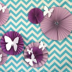 Butterfly Meadow Spring Party {garden party themes} - Tip Junkie I like the idea of the object on the fans. I can use hearts for the seminar
