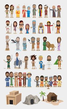 Illustration design showing the bible as a timeline.  Main of main characters are showcased along the timeline.