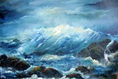 Atlantic Crash - 23 x Oil on board © Donna McGee Seascape Paintings, How To Find Out, Waves, Fine Art, Abstract, Outdoor, Oil, Board, Summary