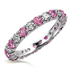 Pink Diamond CZ and Clear CZ Stackable Eternity Band Ring