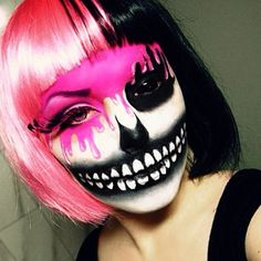 A fun skeleton makeup idea paired with one black Sclera contact lens => http://www.pinterest.com/pin/350717889705707881/                                                                               More
