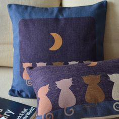 Moon Cat Throw Pillow Cover || coversmart