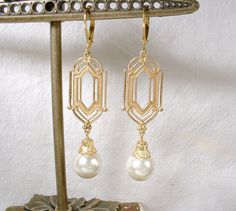 1920's Art Deco Ivory Pearl Dangle Earrings, Long Gold Bridal Statement Drops, Downton Abbey Vintage Wedding Great Gatsby Bridesmaid Jewelry1920's Art Deco Ivory Pearl Dangle Earrings Long by AmoreTreasure