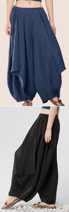 US$ 19.68 Casual Elastic Waist Loose Harem Pants For Women
