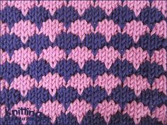 The Dip-Stitch Check is easy and fun to work. All you need to know is the knit, purl and dip stitches.