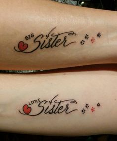 Sister Tattoo with hearts and pawprints. ❤