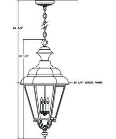 42H 20W $1097 Hanover Lantern B30820 Jamestown X-Large 4 Light Outdoor Hanging Lantern