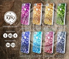 iphone 4 case, iphone 4s case - color glitter rainbow - unique phone csae - plastic case  - blue pink red personalized iphone case