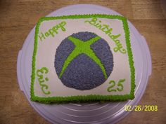 Xbox xbox symbol birthday cake for my son in law. all decorated with buttercream