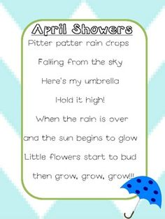 Ideal for teaching poetry! Preschool Poems, Kindergarten Poems, April Preschool, Kids Poems, April Poems, Spring Poem, Teaching Poetry, Student Teaching, Lesson Plans