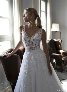 riki dalal 2015 valencia wedding dresses lace embroidered straps v neckline flora embroidered lace bodice beautiful a line gown chapel sheer train