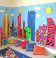 City Mural for kids play room with special touches for each kid. Handkerchief sewn pillows.