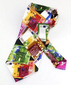 OCIA® Money Theme Print Microfiber Novelty Necktie N001-CF Colorful