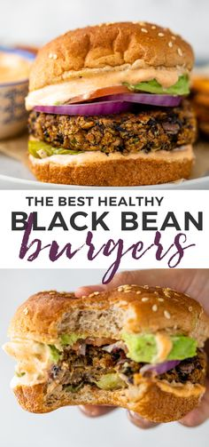 Crispy Black bean burgers are so much healthier, cheaper and tastier homemade and can be grilled or cooked on the stovetop, in the oven, or in the air fryer! Veggie Dishes, Veggie Recipes, Vegetarian Recipes, Cooking Recipes, Vegetarian Barbecue, Hamburger Recipes, Vegetarian Cooking, Veggie Food, Soup Recipes