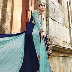 Light Blue & Navy Blue Georgette Salwar Kameez