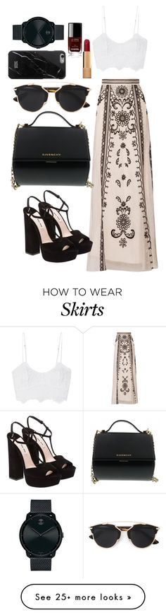 """#108 Long skirt look"" by sophia-zhila on Polyvore featuring Temperley London, Miguelina, Miu Miu, Givenchy, Christian Dior, Chanel, Movado, women's clothing, women's fashion and women"